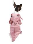 Dog in pink axolotl hoodie backview